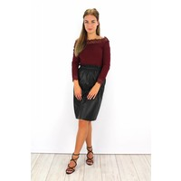 Long leather skirt C7808