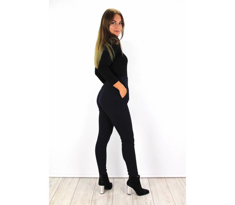 Blue marine pants high waist 21095