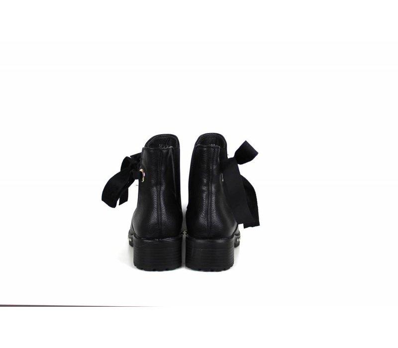 Black velvet bow boots