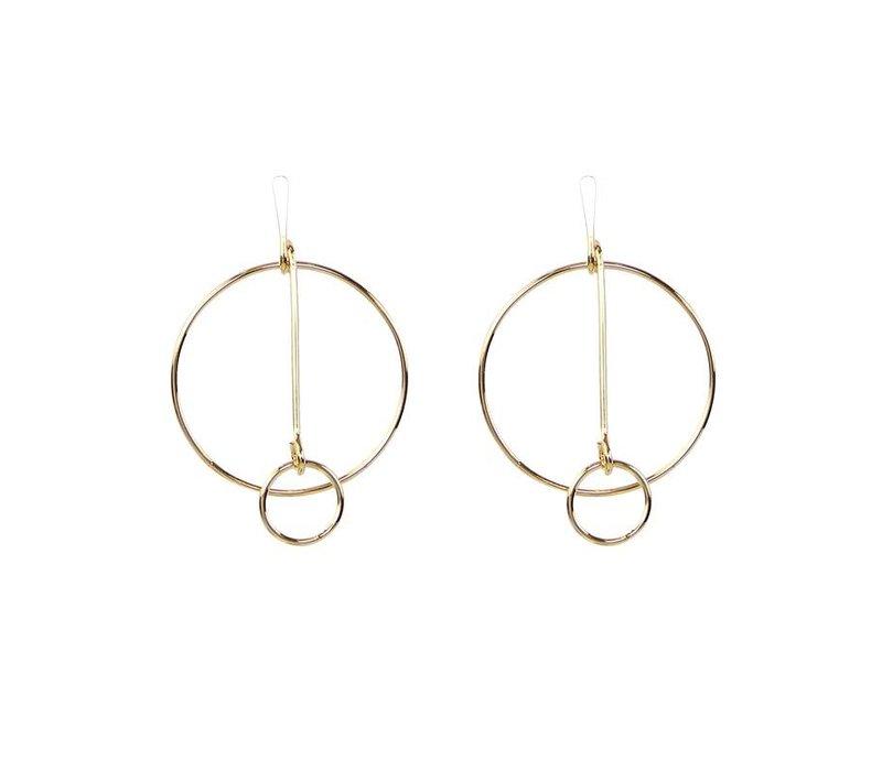 Oorbellen circles connected gold