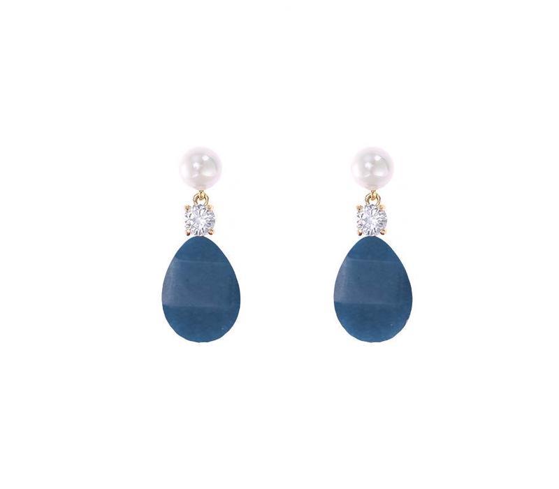 Oorbellen flat stone drops blue
