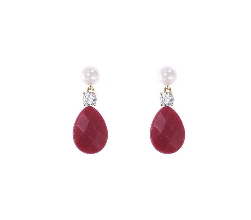 Oorbellen flat stone drops red