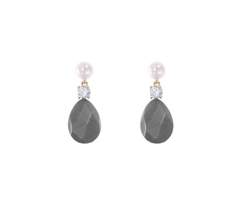Oorbellen flat stone drops grey