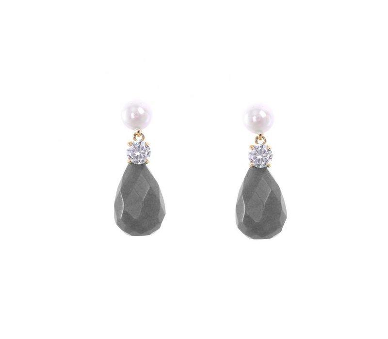 Oorbellen stone drops grey