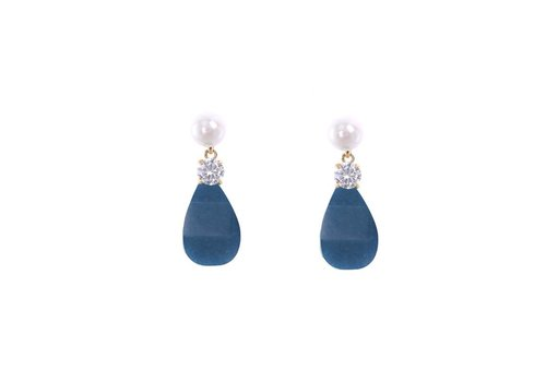 Oorbellen stone drops blue