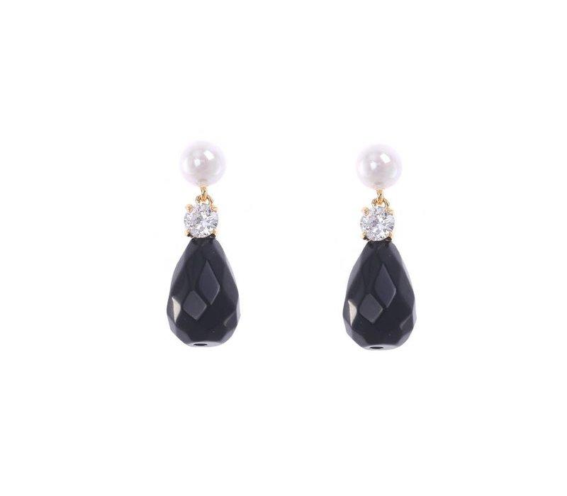 Oorbellen stone drops black