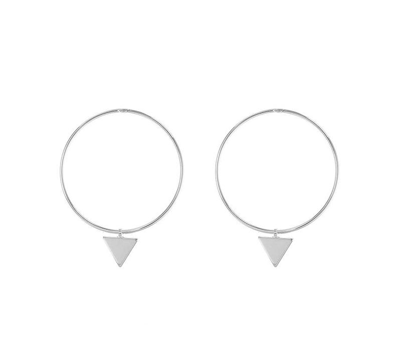Oorbellen circles and triangle silver