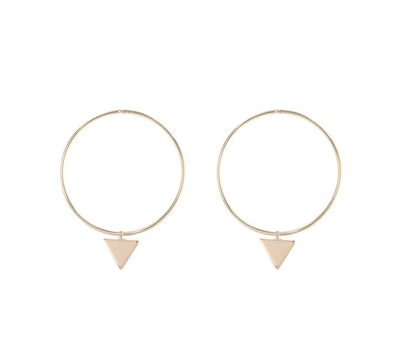 Oorbellen circles and triangle gold