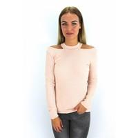 Pink cold shoulder top pearl 5079