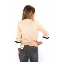Old pink sweater bow H1281