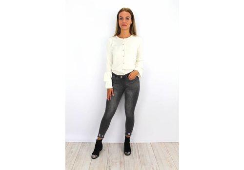 Grey jeans skinny crop distressed