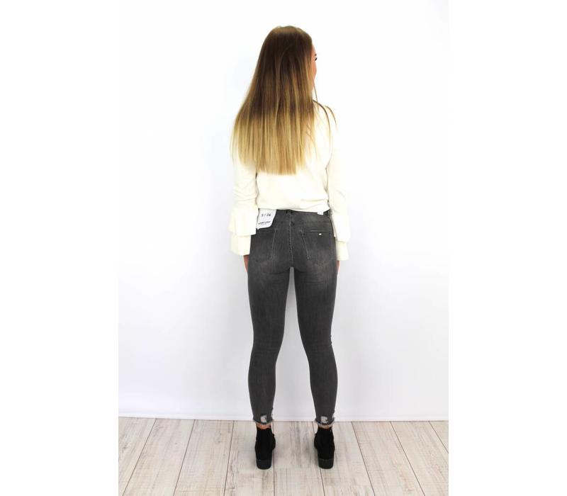 Grey jeans skinny crop distressed 9239-2