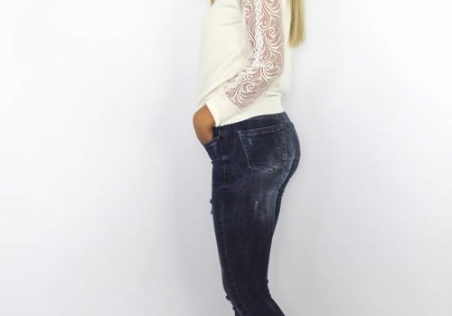 Queen Hearts Skinny jeans fray hem