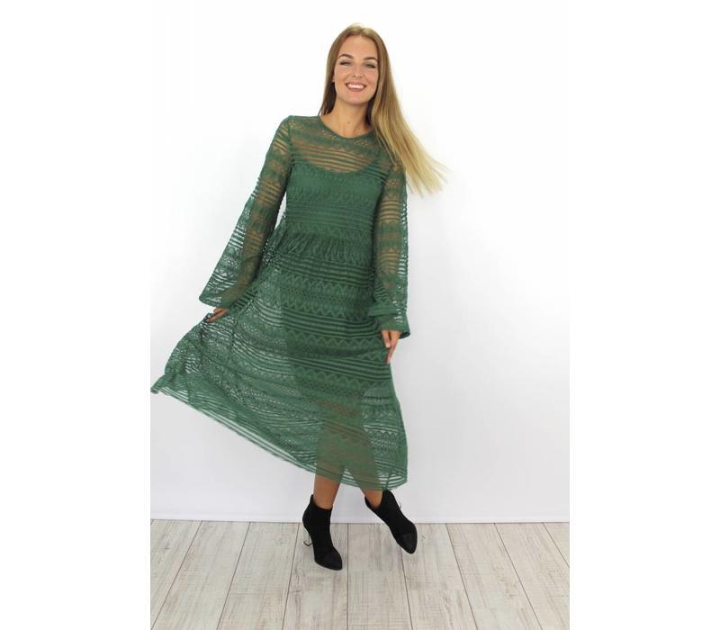 Long lace dress green solo
