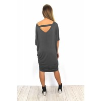 Cute grey open back dress