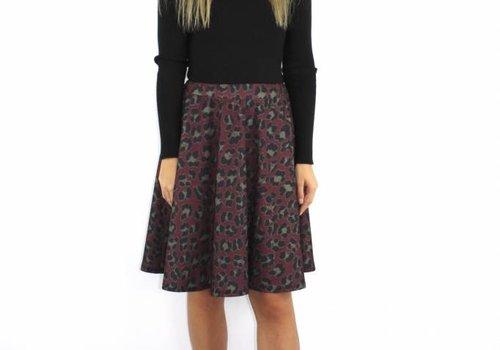 F.Fashion Leopard skirt bordeaux