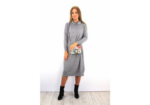 Long grey col dress