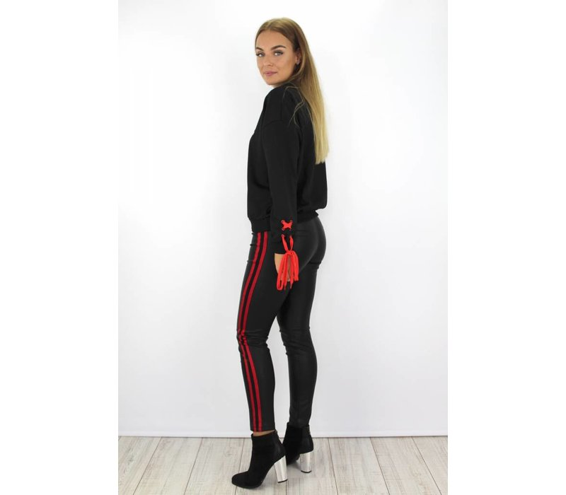 Leather pants red stripes 19715