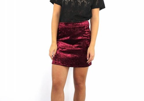 Bordeaux velvet skirt