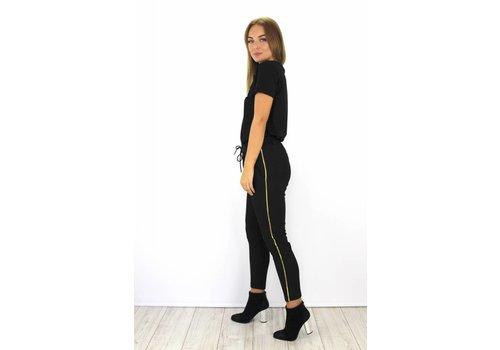 Black pants gold stripe