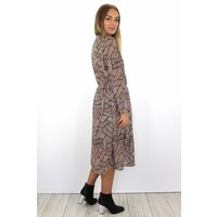 Long print dress J3215