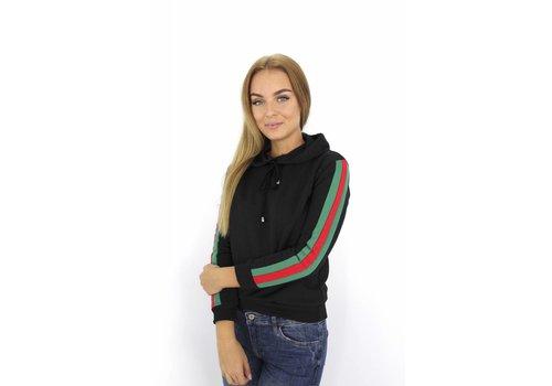 Black hoodie green/red stripe