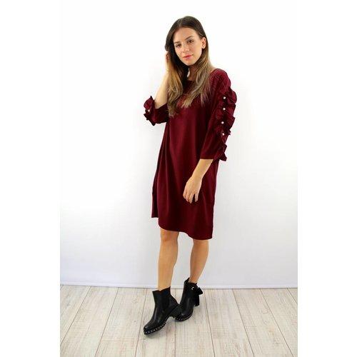 Cherry Koko Lovely ruffle Stefania dress bordeaux