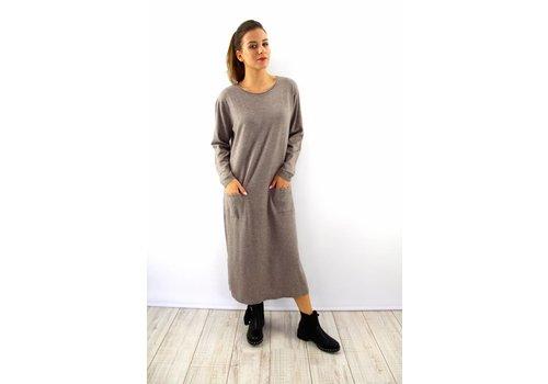 Long Kaylla taupe sweater dress