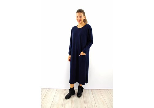 Long Kaylla dark blue sweater dress