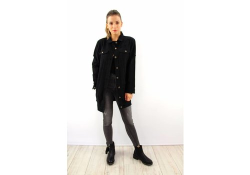 Long black denim jacket