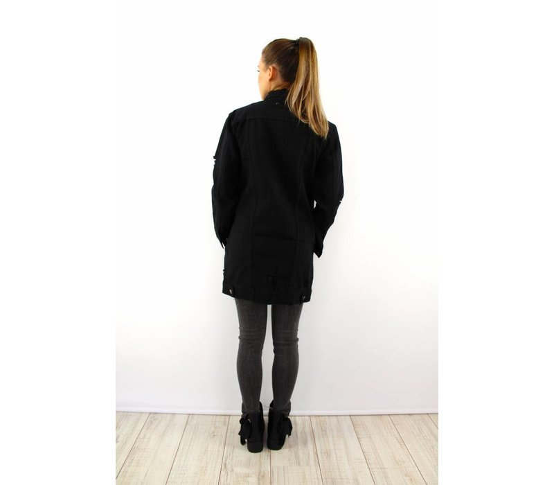 Long black denim jacket 360