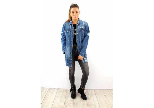 Long blue denim jacket