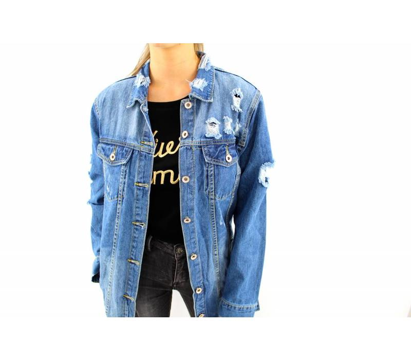 Long blue denim jacket 360