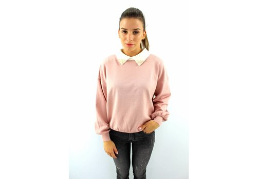 Lovely pearl collar sweater pink