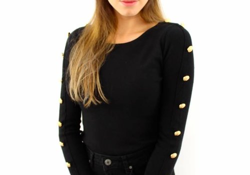 Black top gold buttons