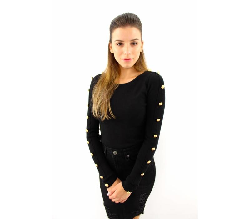 Black top gold buttons K121