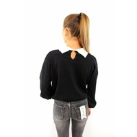 Lovely pearl collar sweater black K1539