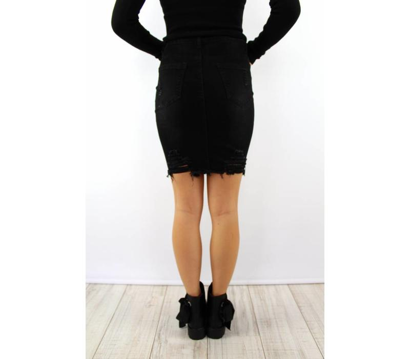 Black jeans skirt B609-2