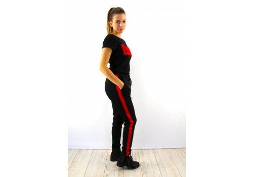 Pants black red stripe