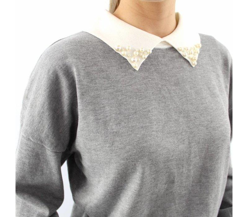 Lovely pearl collar sweater grey K1539