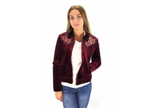 Bordeaux velvet flower jacket