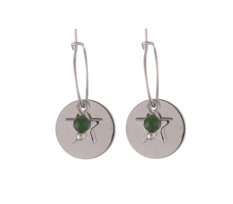 Oorbellen twinkle sweet star and coin silver green