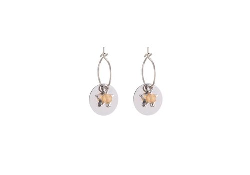 Oorbellen twinkle sweet star and coin silver rose