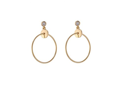 Oorbellen sweet bling and circle gold