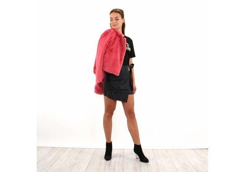 Leather look skirt black