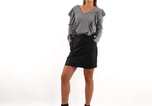 Black leather look skirt