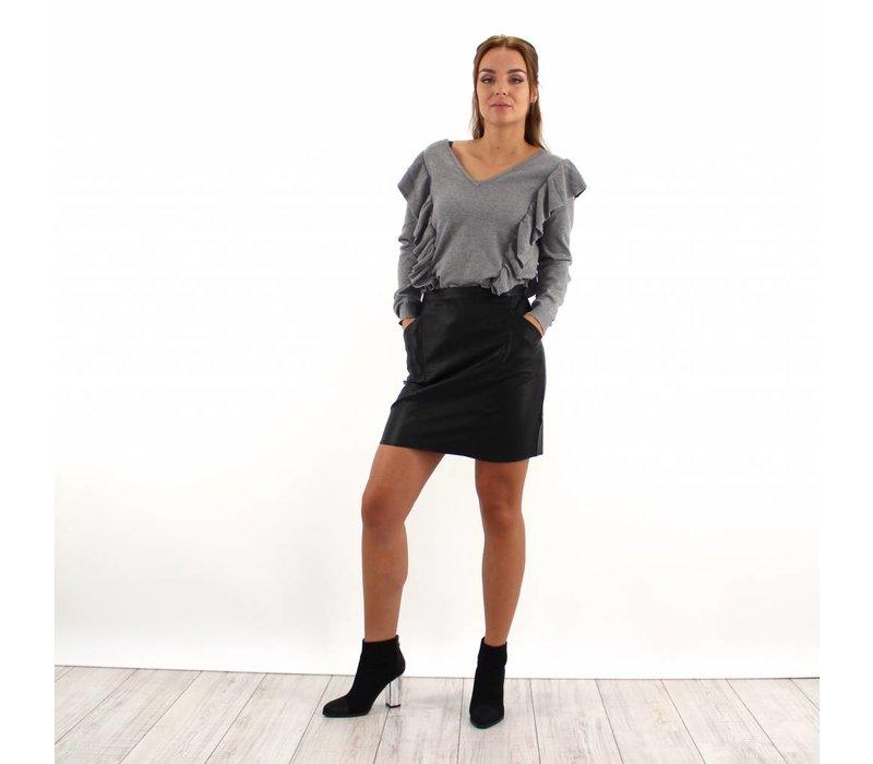 Black leather look skirt H347