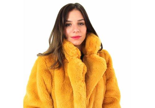 Yellow fake fur coat