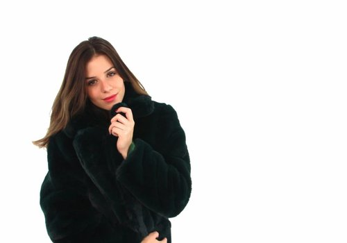 Green fake fur coat