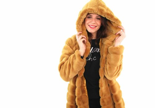 Yellow fake fur coat